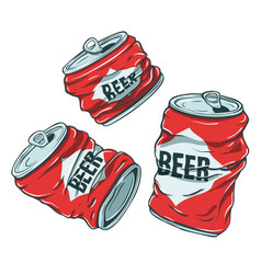 Beer cans on white vector