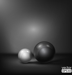 Black and white spheres abstract background vector
