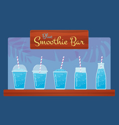 Blue fresh fruit smoothie or cocktail set vector
