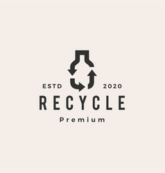 Bottle recycle hipster vintage logo icon vector