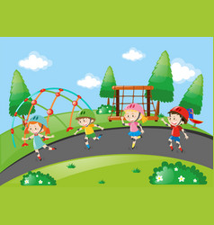 boys and girls skating on the road vector image
