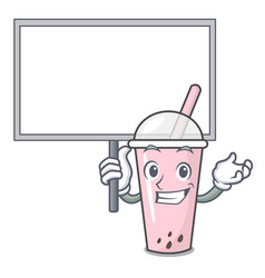 Bring board raspberry bubble tea character cartoon vector