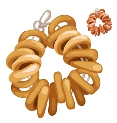 Bunch of bagels on a rope food isolated vector