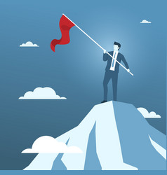 businessman holding red flag on the top of vector image
