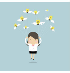 Businesswoman fly with idea bulb vector