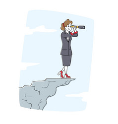 Businesswoman stand on mountain top watching far vector
