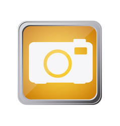 Button with analog camera with background yellow vector