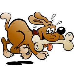 Cartoon a happy dog with a big bone vector