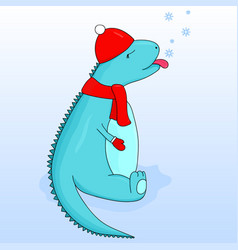 Cartoon dinosaur in a cap and scarf tongue catches vector