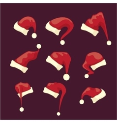Cartoon red santa claus hat collection vector