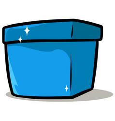 cartoon shiny blue present gift box vector image