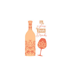 Chic burnt orange color bottle and glass vector