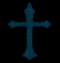 christian cross collage icon of halftone bubbles vector image