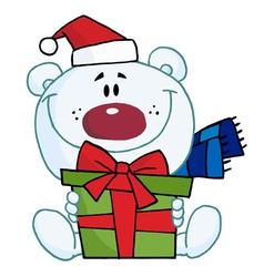 Christmas Polar Bear Holding A Gift vector image