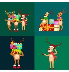 christmas set of deer with banner isolated happy vector image