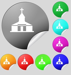 Church Icon sign Set of eight multi colored round vector