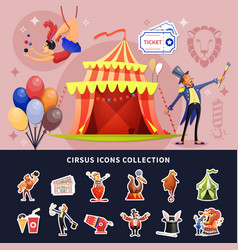 circus cartoon colored composition vector image