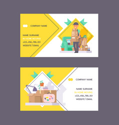 courier business card postman man character vector image