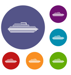 Cruise ship icons set vector