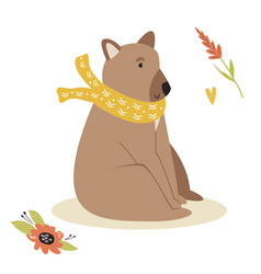cute brown bear in a scarf forest animal vector image