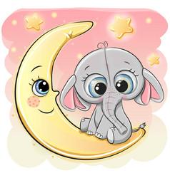 cute cartoon elephant on the moon vector image