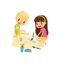 cute little girl and boy sitting on the floor and vector image