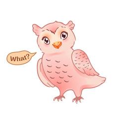 cute owl in confusion funny cartoon emoji or vector image