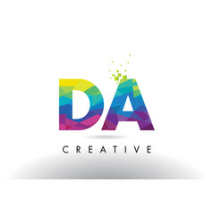 Da d a colorful letter origami triangles design vector