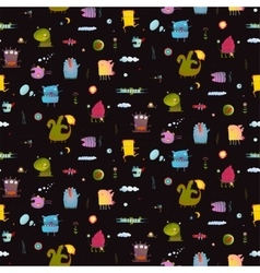 Dark black colorful monsters seamless background vector image