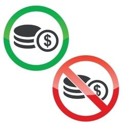 Dollar rouleau permission signs set vector