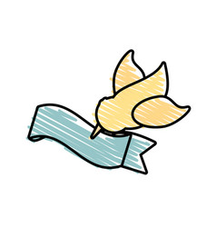 Dove flying with ribbon symbol image vector