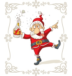 Drunk Santa Dancing Cartoon vector
