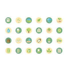 Ecological green energy block icons collection vector