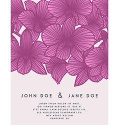 Elegant wedding invitation with orchid flowers vector image