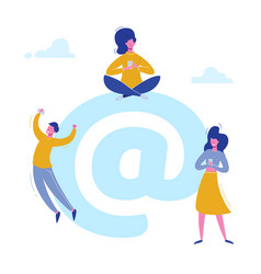 email people characters chatting with phones vector image