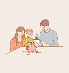 Family budget and saving money concept vector