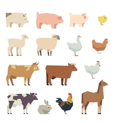 Farm animals flat icons vector