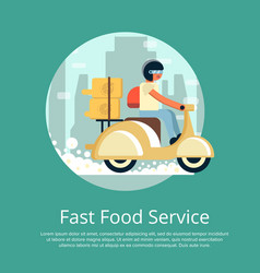 Fast food delivery service poster with courier vector