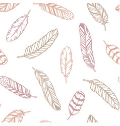 feathers pastel seamless pattern vector image