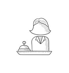 Female receptionist sketch icon vector image
