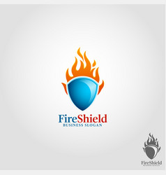 fire shield logo template vector image