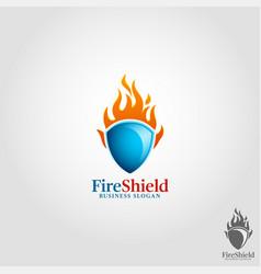fire shield logo template vector image