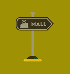 Flat icon on background mall sign vector
