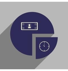 Flat web icon with long shadow time money chart vector image