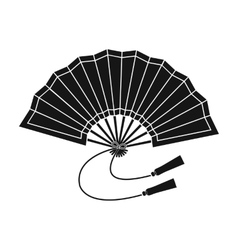 Folding fan icon in black style isolated on white vector image