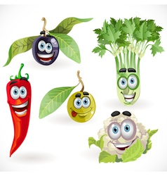 Funny cute vegetables smiles celery cauliflower vector