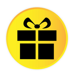gift box icon yellow circle frame background vector image