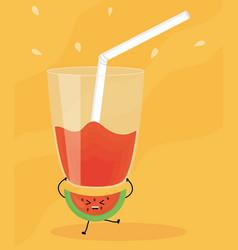 Glass with juice watermelon fresh fruit kawaii vector