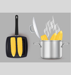 Grilled and boiled sweet corn isolated vector