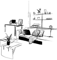Hand drawn interior sketch living room home vector